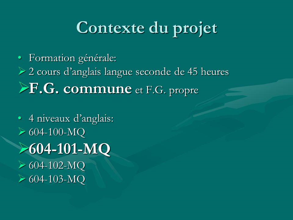 Contexte du projet Formation générale:Formation générale: 2 cours danglais langue seconde de 45 heures 2 cours danglais langue seconde de 45 heures F.