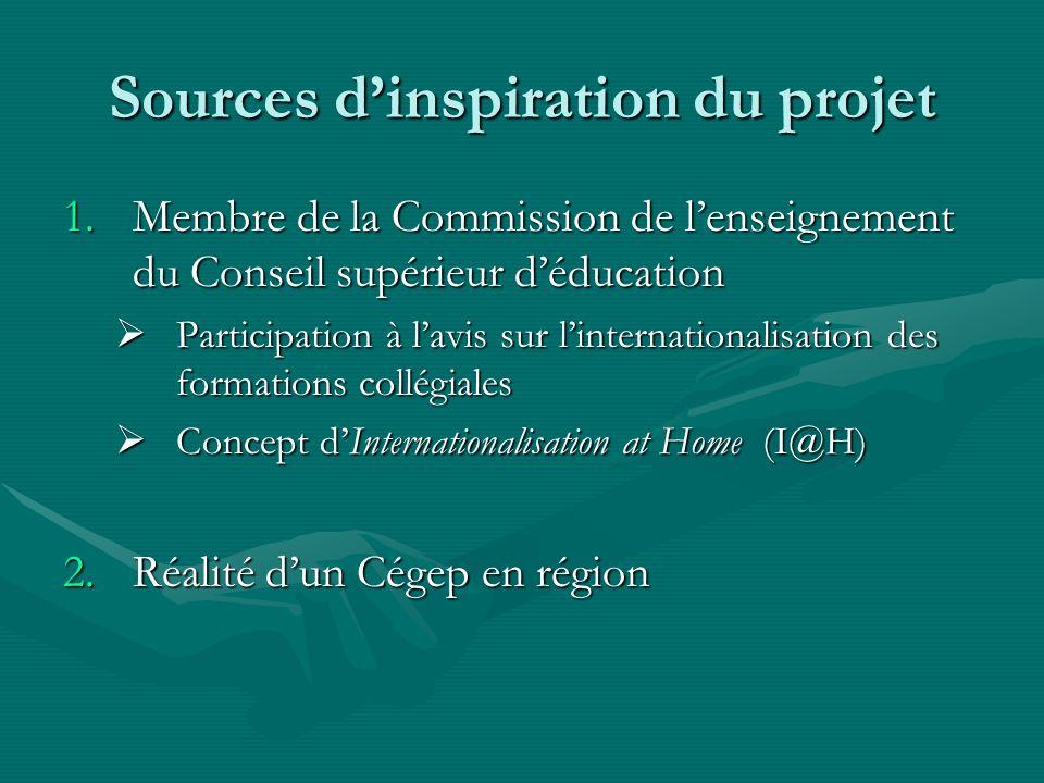 Sources dinspiration du projet 1.Membre de la Commission de lenseignement du Conseil supérieur déducation Participation à lavis sur linternationalisat