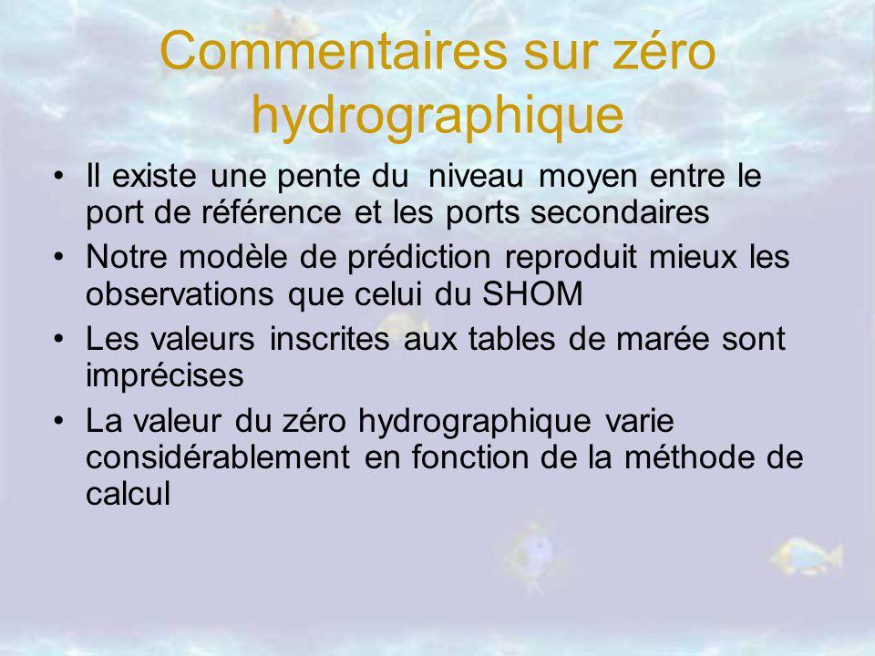 Commentaires sur zéro hydrographique Il existe une pente du niveau moyen entre le port de référence et les ports secondaires Notre modèle de prédictio