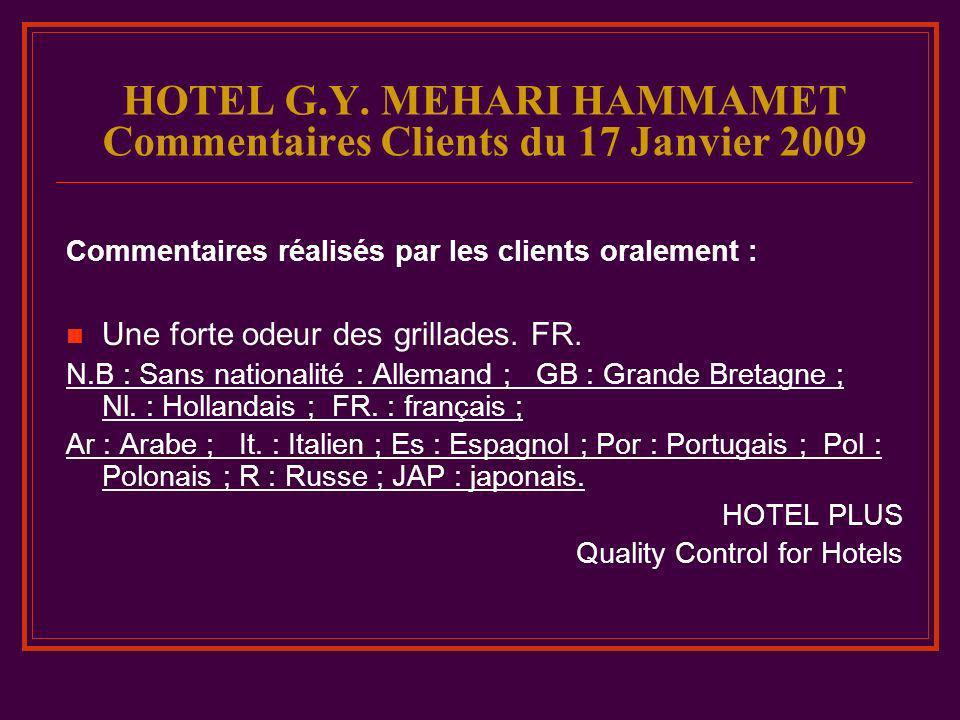 HOTEL G.Y. MEHARI HAMMAMET Commentaires Clients du 17 Janvier 2009 Commentaires réalisés par les clients oralement : Une forte odeur des grillades. FR