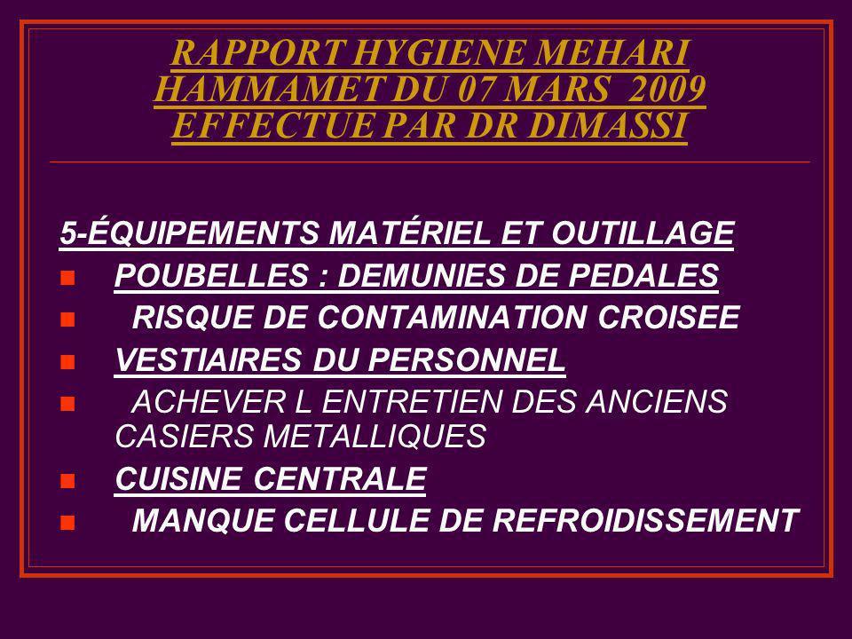 RAPPORT HYGIENE MEHARI HAMMAMET DU 07 MARS 2009 EFFECTUE PAR DR DIMASSI 5-ÉQUIPEMENTS MATÉRIEL ET OUTILLAGE POUBELLES : DEMUNIES DE PEDALES RISQUE DE