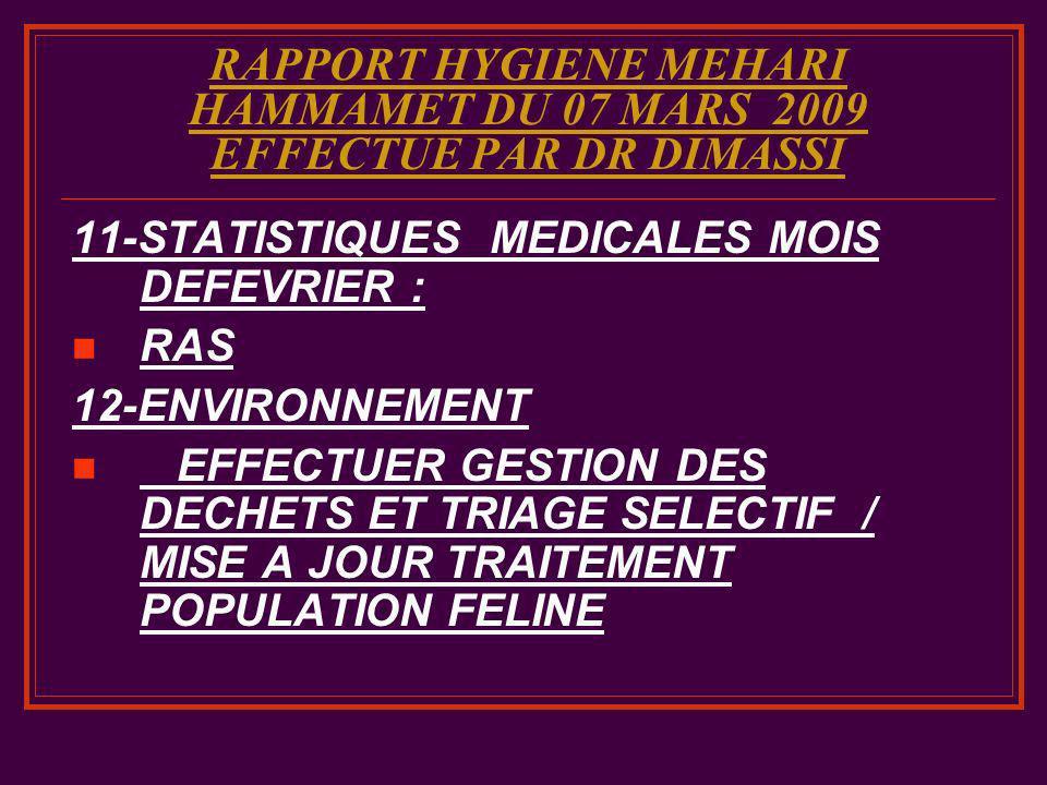 RAPPORT HYGIENE MEHARI HAMMAMET DU 07 MARS 2009 EFFECTUE PAR DR DIMASSI 11-STATISTIQUES MEDICALES MOIS DEFEVRIER : RAS 12-ENVIRONNEMENT EFFECTUER GEST