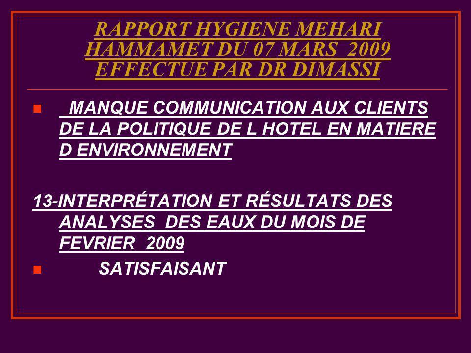 RAPPORT HYGIENE MEHARI HAMMAMET DU 07 MARS 2009 EFFECTUE PAR DR DIMASSI MANQUE COMMUNICATION AUX CLIENTS DE LA POLITIQUE DE L HOTEL EN MATIERE D ENVIR