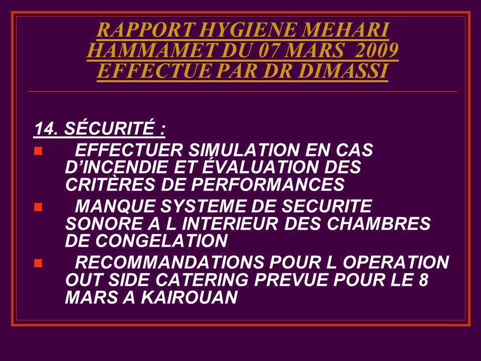 RAPPORT HYGIENE MEHARI HAMMAMET DU 07 MARS 2009 EFFECTUE PAR DR DIMASSI 14. SÉCURITÉ : EFFECTUER SIMULATION EN CAS DINCENDIE ET ÉVALUATION DES CRITÈRE