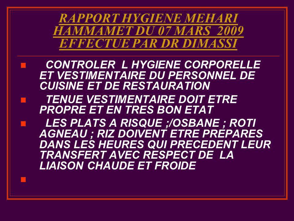 RAPPORT HYGIENE MEHARI HAMMAMET DU 07 MARS 2009 EFFECTUE PAR DR DIMASSI CONTROLER L HYGIENE CORPORELLE ET VESTIMENTAIRE DU PERSONNEL DE CUISINE ET DE