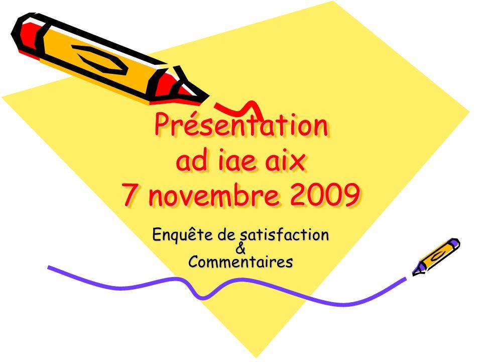 Présentation ad iae aix 7 novembre 2009 Enquête de satisfaction &Commentaires