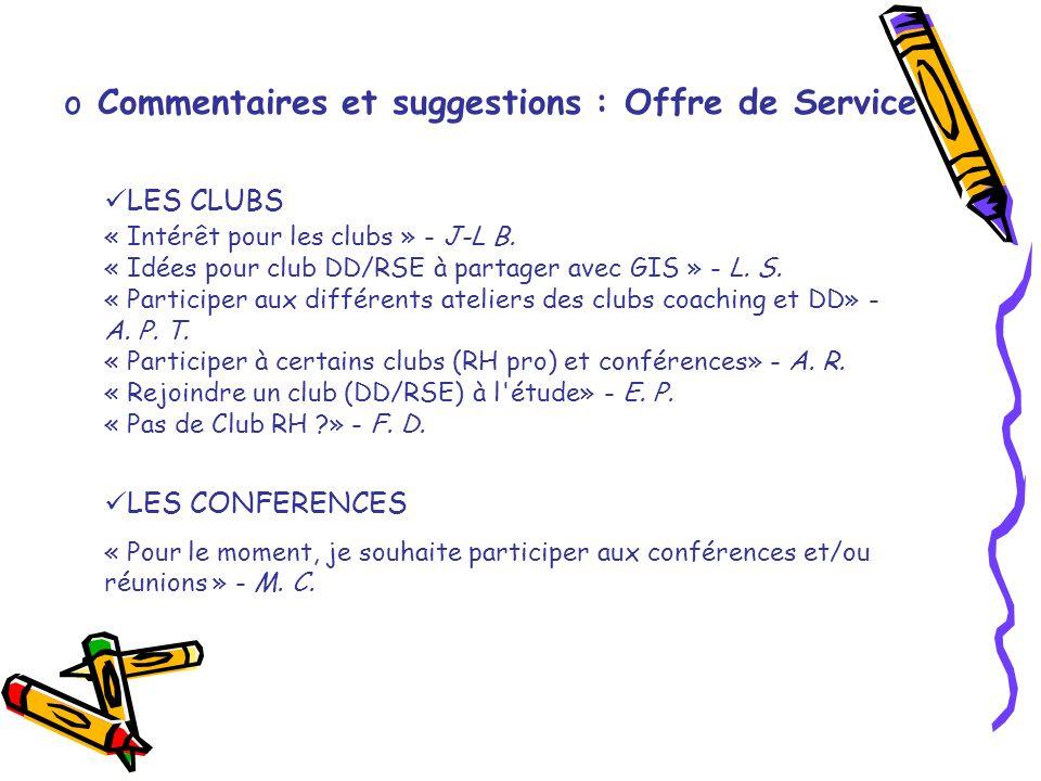 o Commentaires et suggestions : Offre de Service LES CLUBS « Intérêt pour les clubs » - J-L B. « Idées pour club DD/RSE à partager avec GIS » - L. S.