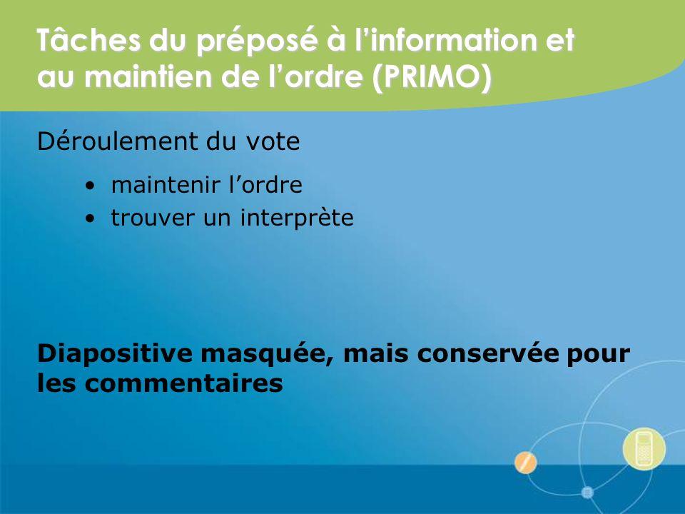 Tâches du préposé à linformation et au maintien de lordre (PRIMO) Déroulement du vote maintenir lordre trouver un interprète Diapositive masquée, mais conservée pour les commentaires