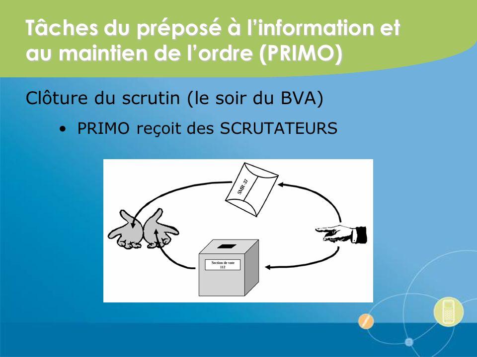 Tâches du préposé à linformation et au maintien de lordre (PRIMO) Clôture du scrutin (le soir du BVA) PRIMO reçoit des SCRUTATEURS