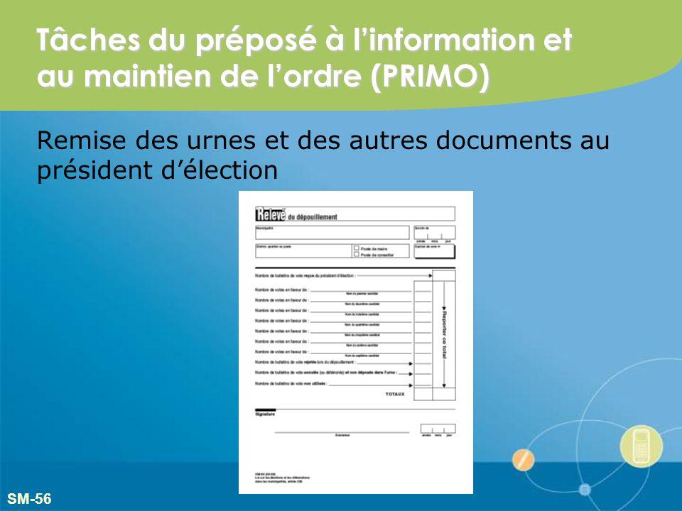 Tâches du préposé à linformation et au maintien de lordre (PRIMO) Remise des urnes et des autres documents au président délection SM-56
