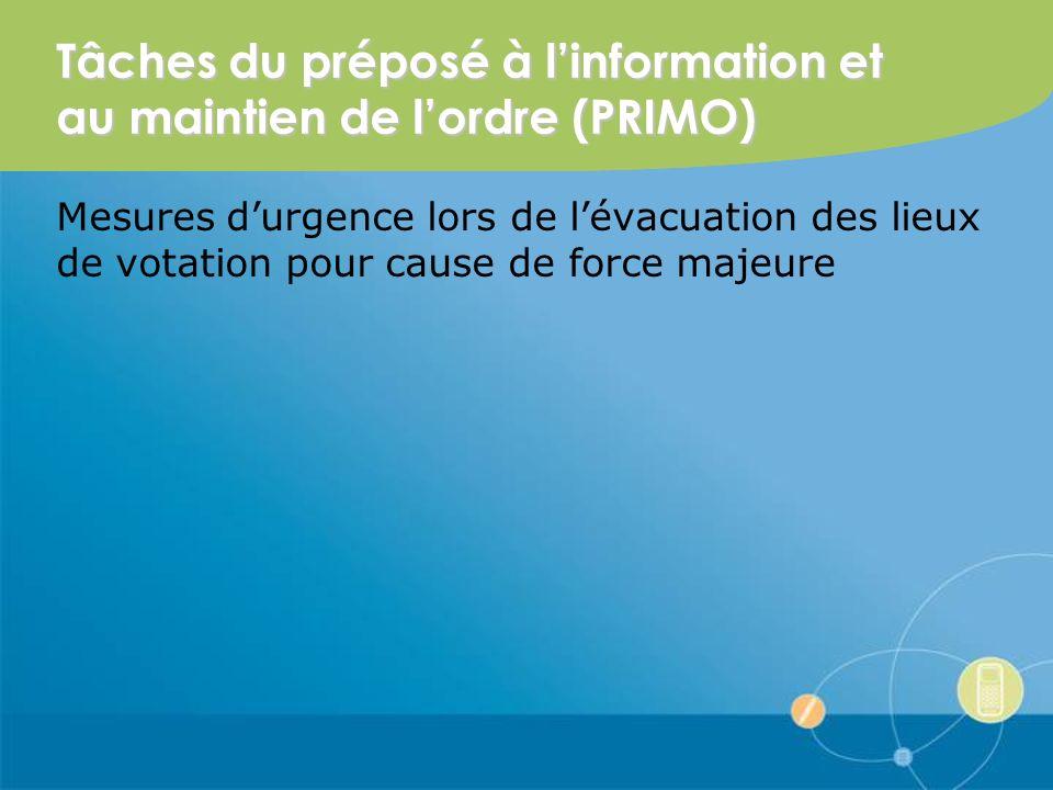 Tâches du préposé à linformation et au maintien de lordre (PRIMO) Mesures durgence lors de lévacuation des lieux de votation pour cause de force majeure