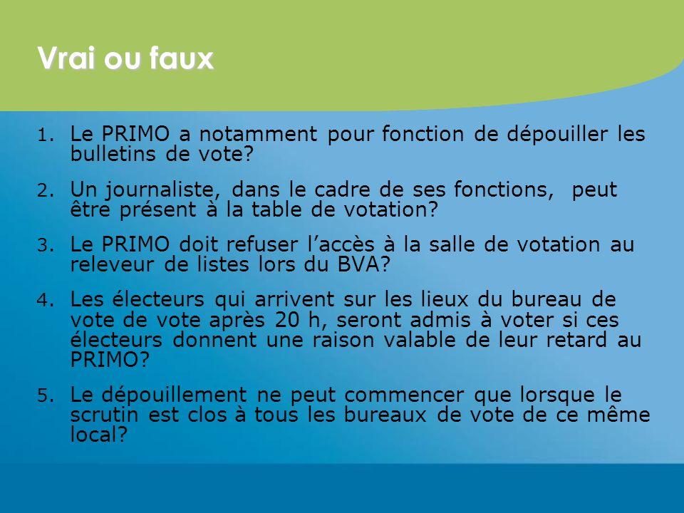 Vrai ou faux 1. Le PRIMO a notamment pour fonction de dépouiller les bulletins de vote.