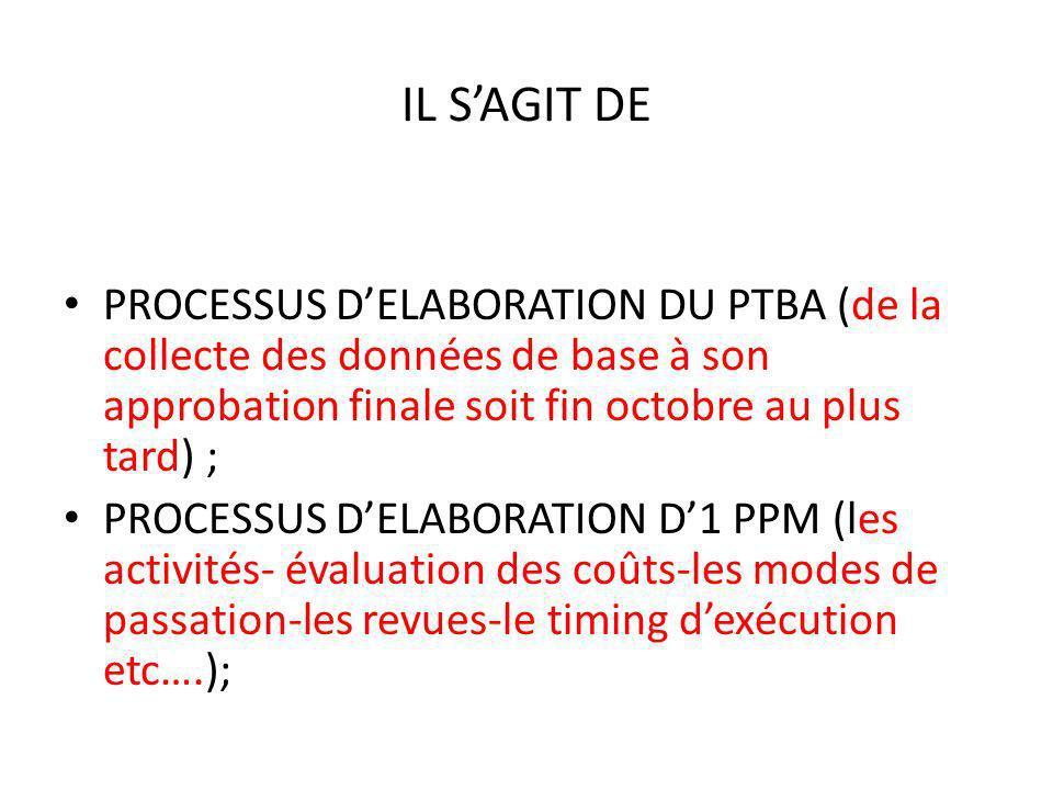 IL SAGIT DE PROCESSUS DELABORATION DU PTBA (de la collecte des données de base à son approbation finale soit fin octobre au plus tard) ; PROCESSUS DELABORATION D1 PPM (les activités- évaluation des coûts-les modes de passation-les revues-le timing dexécution etc….);
