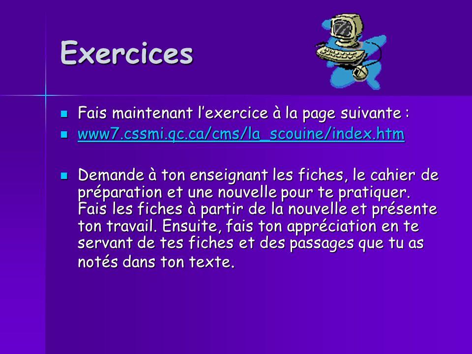 Exercices Fais maintenant lexercice à la page suivante : Fais maintenant lexercice à la page suivante : www7.cssmi.qc.ca/cms/la_scouine/index.htm www7