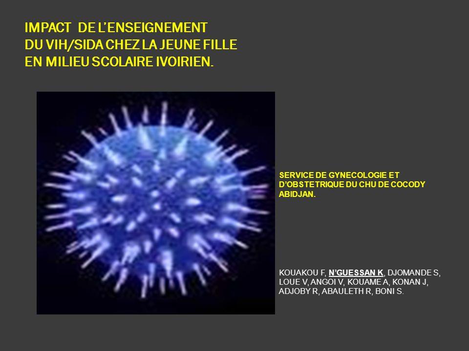 IMPACT DE LENSEIGNEMENT DU VIH/SIDA CHEZ LA JEUNE FILLE EN MILIEU SCOLAIRE IVOIRIEN. SERVICE DE GYNECOLOGIE ET DOBSTETRIQUE DU CHU DE COCODY ABIDJAN.