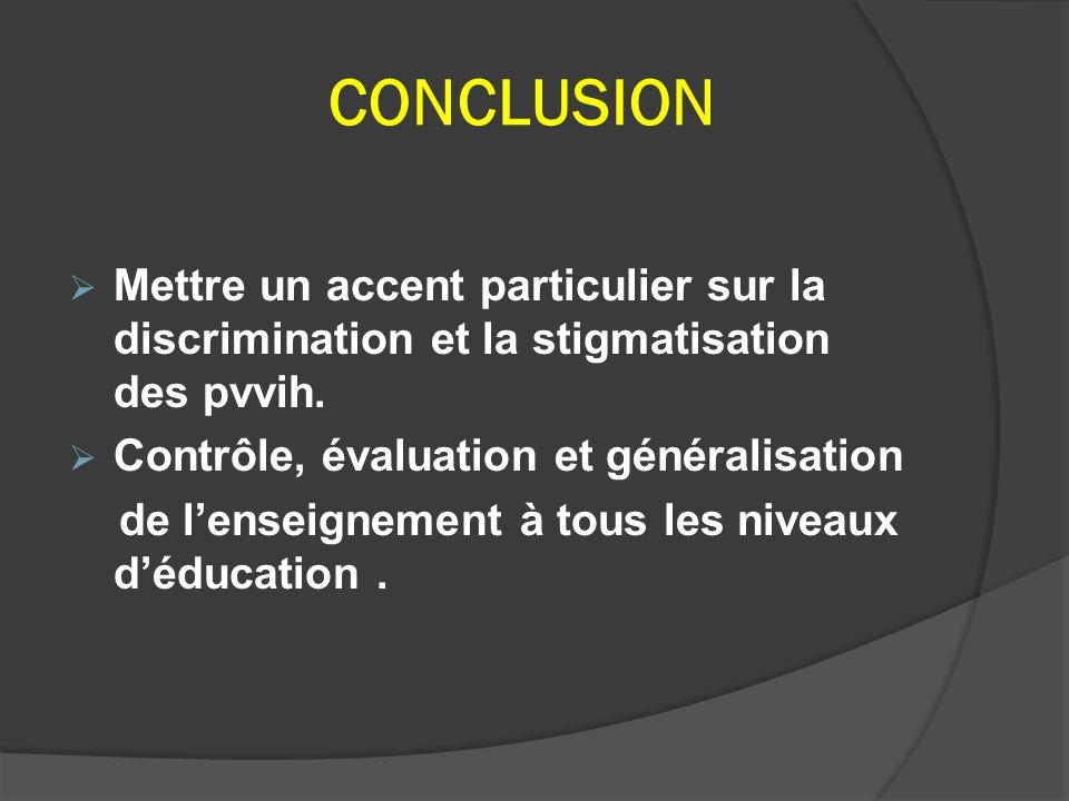 CONCLUSION Mettre un accent particulier sur la discrimination et la stigmatisation des pvvih. Contrôle, évaluation et généralisation de lenseignement