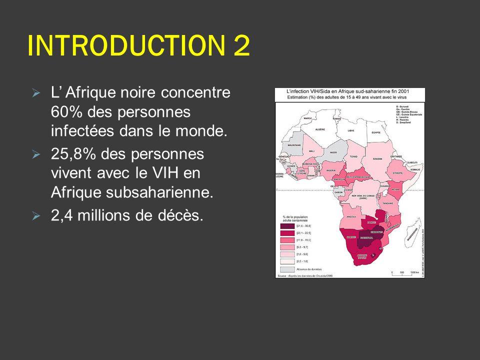 INTRODUCTION 2 L Afrique noire concentre 60% des personnes infectées dans le monde. 25,8% des personnes vivent avec le VIH en Afrique subsaharienne. 2