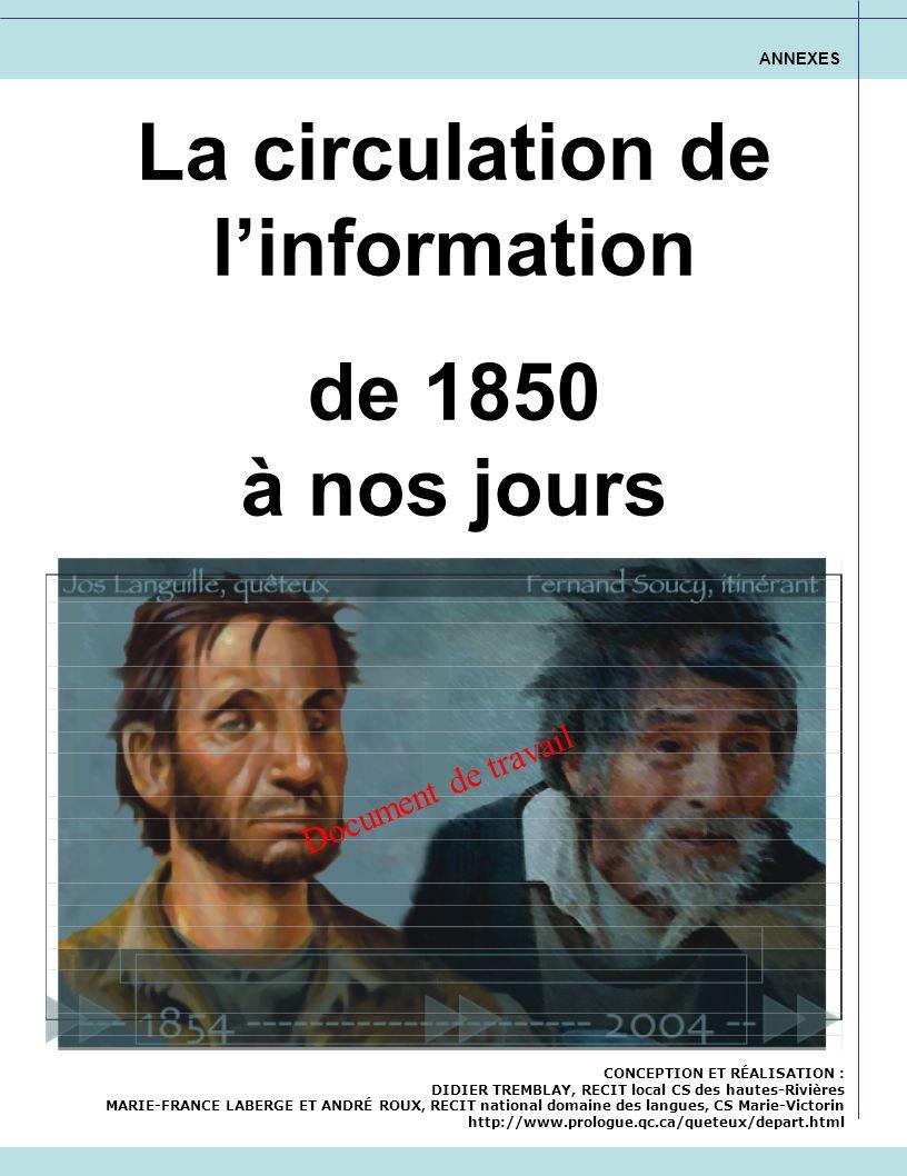 La circulation de linformation de 1850 à nos jours ANNEXES CONCEPTION ET RÉALISATION : DIDIER TREMBLAY, RECIT local CS des hautes-Rivières MARIE-FRANC