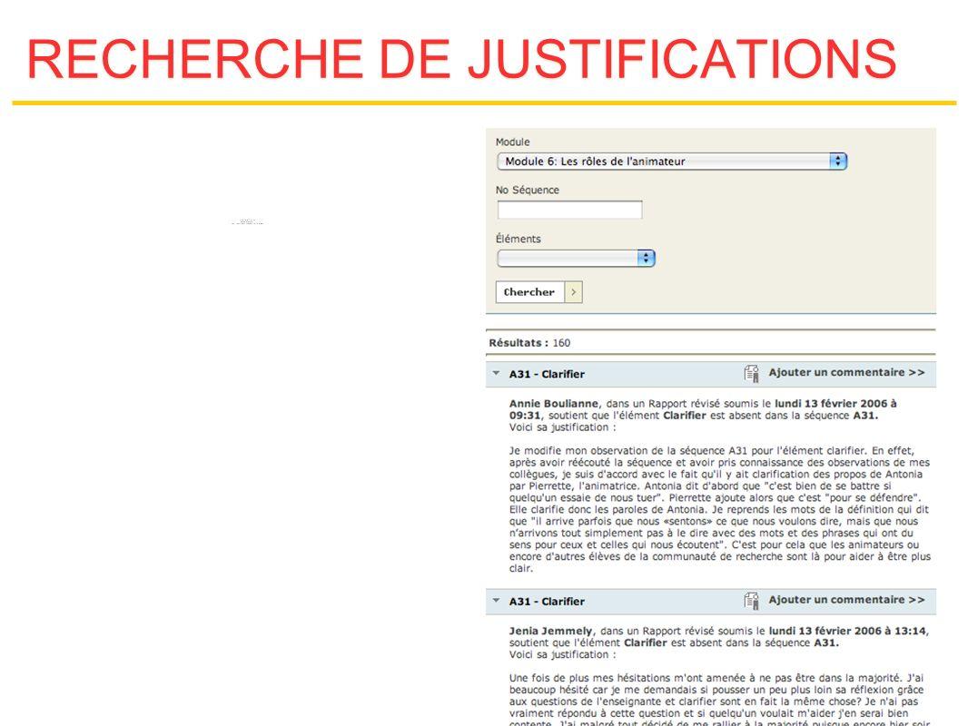 RECHERCHE DE JUSTIFICATIONS