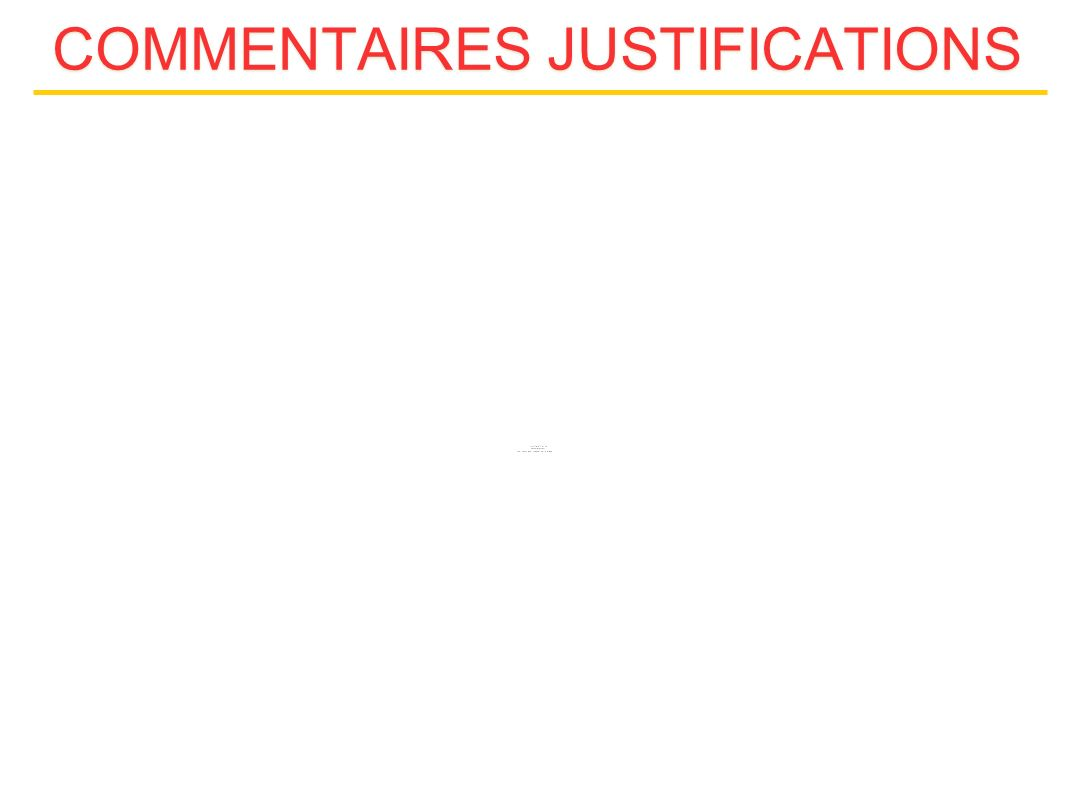 COMMENTAIRES JUSTIFICATIONS