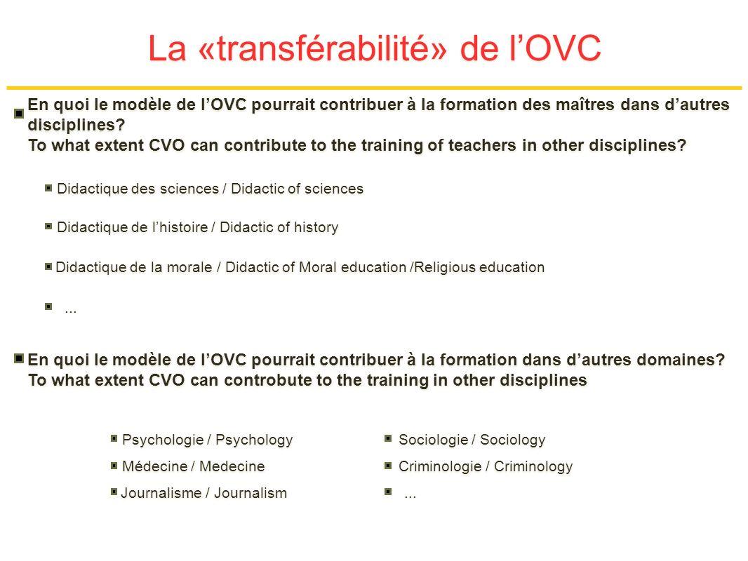 La «transférabilité» de lOVC En quoi le modèle de lOVC pourrait contribuer à la formation des maîtres dans dautres disciplines.