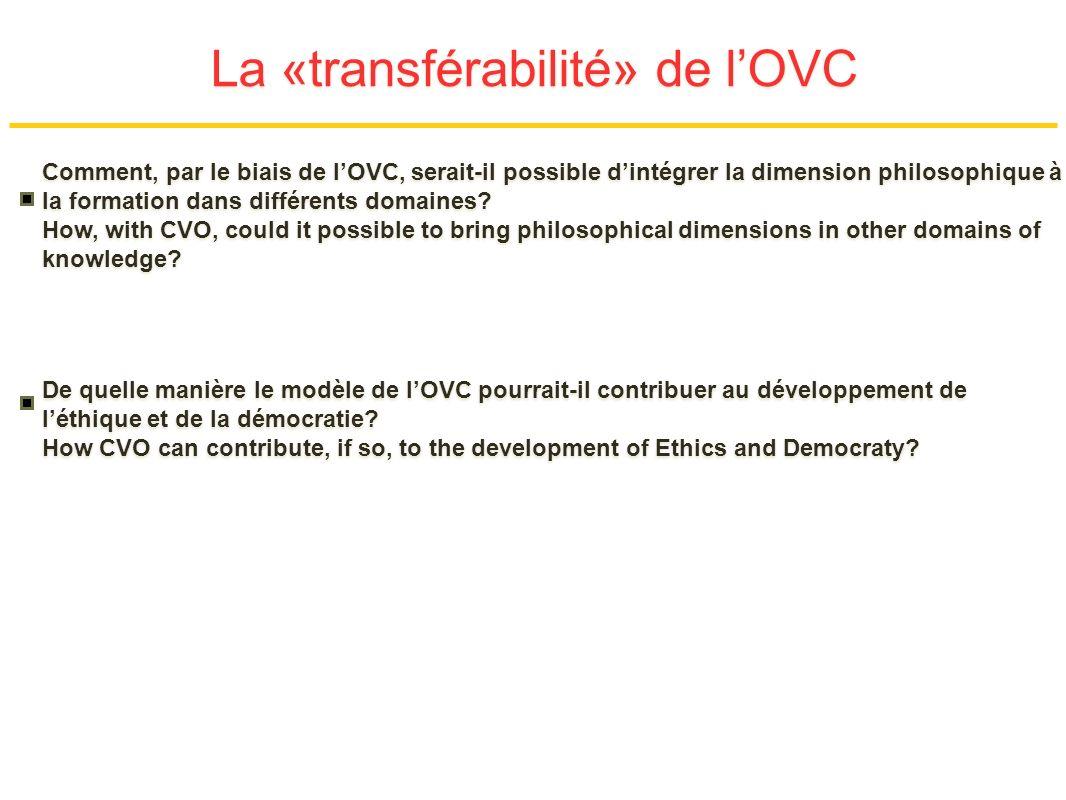 La «transférabilité» de lOVC Comment, par le biais de lOVC, serait-il possible dintégrer la dimension philosophique à la formation dans différents domaines.
