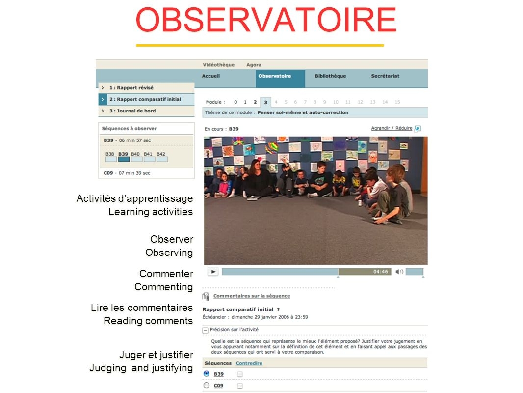 OBSERVATOIRE Activités dapprentissage Learning activities Activités dapprentissage Learning activities Observer Observing Observer Observing Commenter