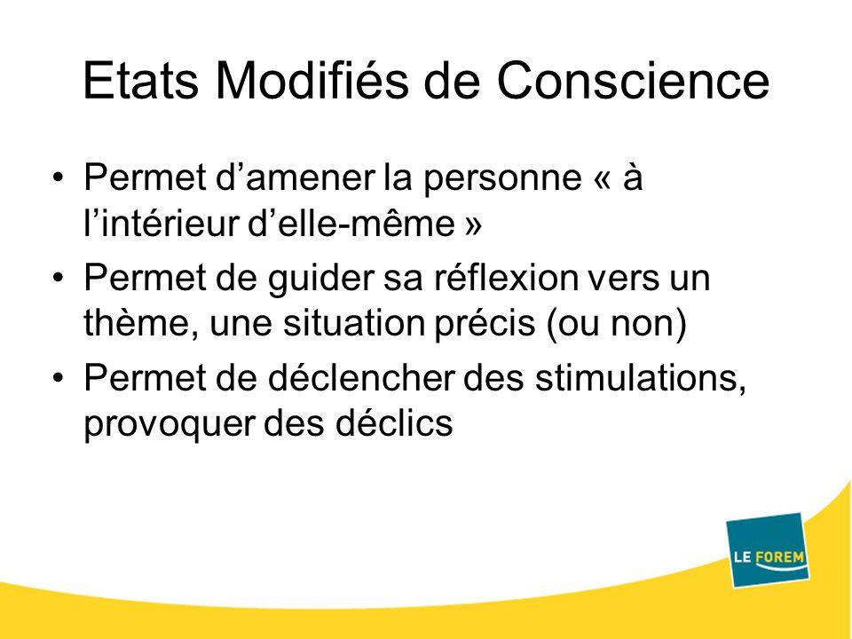 Etats Modifiés de Conscience Permet damener la personne « à lintérieur delle-même » Permet de guider sa réflexion vers un thème, une situation précis