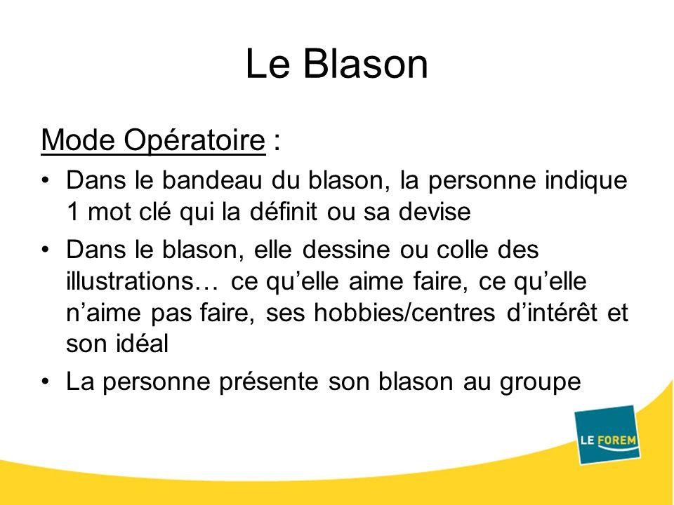Le Blason Mode Opératoire : Dans le bandeau du blason, la personne indique 1 mot clé qui la définit ou sa devise Dans le blason, elle dessine ou colle