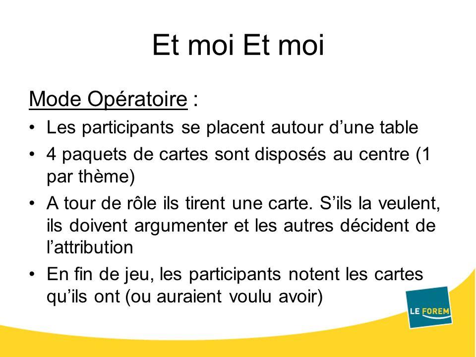 Et moi Mode Opératoire : Les participants se placent autour dune table 4 paquets de cartes sont disposés au centre (1 par thème) A tour de rôle ils ti