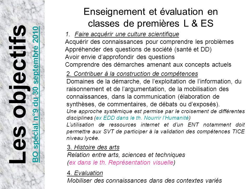 Les objectifs BO spécial n°9 du 30 septembre 2010 Enseignement et évaluation en classes de premières L & ES 1.Faire acquérir une culture scientifique