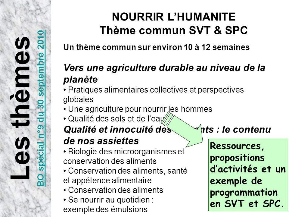 Un thème commun sur environ 10 à 12 semaines Vers une agriculture durable au niveau de la planète Pratiques alimentaires collectives et perspectives g