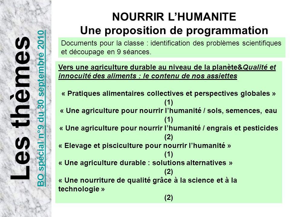 NOURRIR LHUMANITE Une proposition de programmation Les thèmes BO spécial n°9 du 30 septembre 2010 Vers une agriculture durable au niveau de la planète