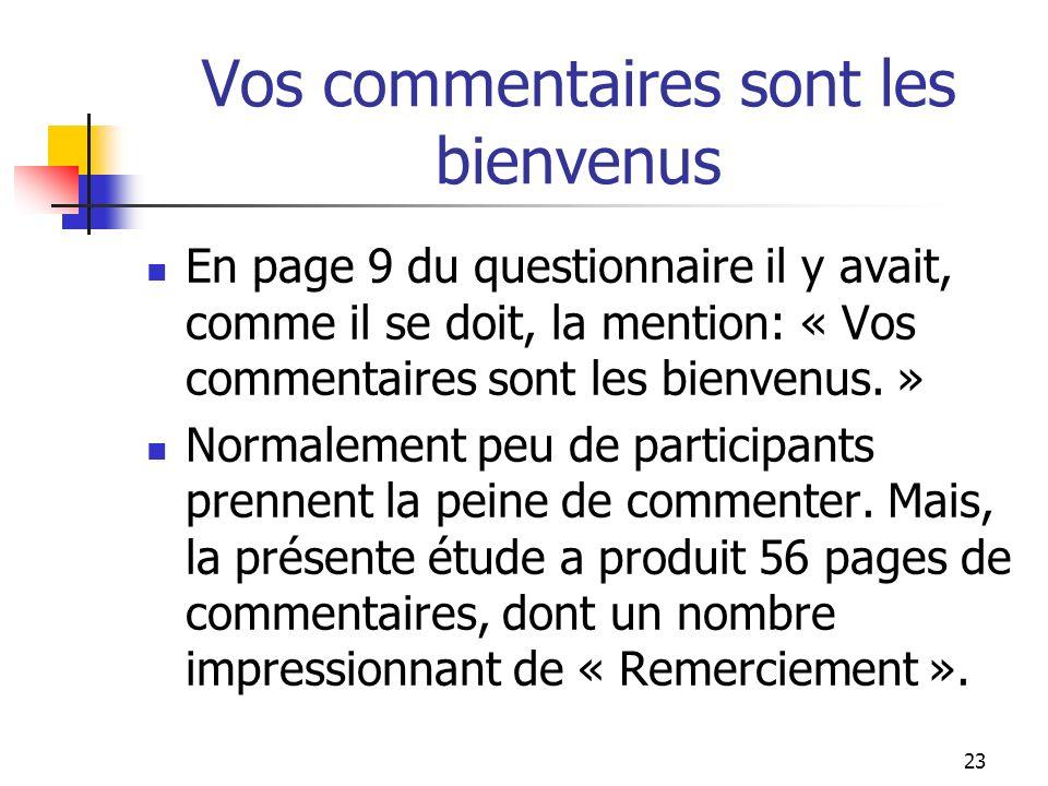 23 Vos commentaires sont les bienvenus En page 9 du questionnaire il y avait, comme il se doit, la mention: « Vos commentaires sont les bienvenus.