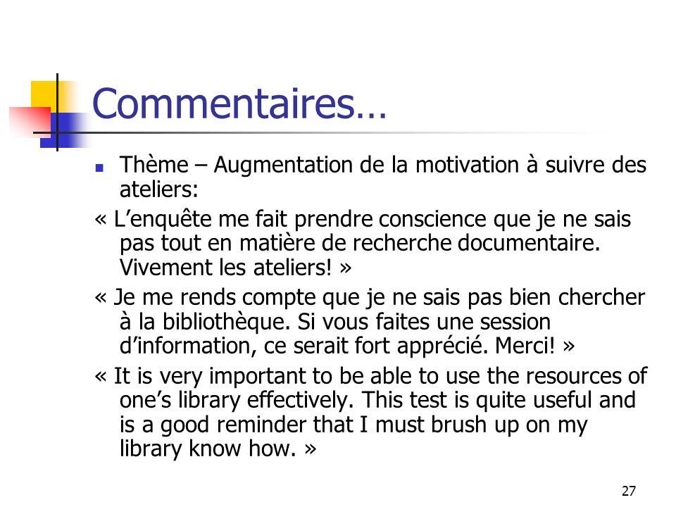 27 Commentaires… Thème – Augmentation de la motivation à suivre des ateliers: « Lenquête me fait prendre conscience que je ne sais pas tout en matière de recherche documentaire.