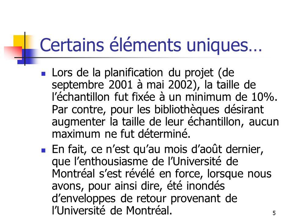 5 Certains éléments uniques… Lors de la planification du projet (de septembre 2001 à mai 2002), la taille de léchantillon fut fixée à un minimum de 10%.