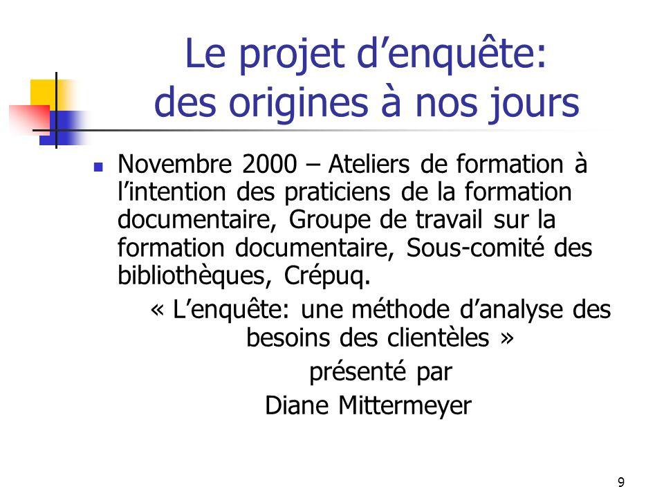 9 Le projet denquête: des origines à nos jours Novembre 2000 – Ateliers de formation à lintention des praticiens de la formation documentaire, Groupe de travail sur la formation documentaire, Sous-comité des bibliothèques, Crépuq.