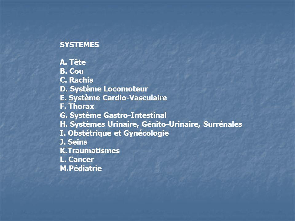 SYSTEMES A. Tête B. Cou C. Rachis D. Système Locomoteur E. Système Cardio-Vasculaire F. Thorax G. Système Gastro-Intestinal H. Systèmes Urinaire, Géni
