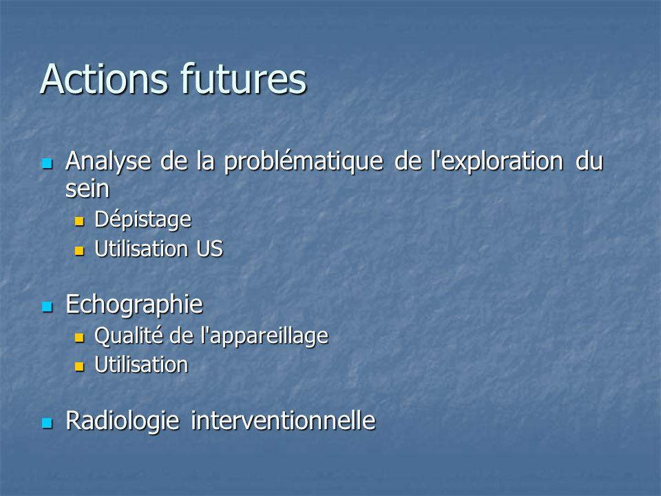 Actions futures Analyse de la problématique de l'exploration du sein Analyse de la problématique de l'exploration du sein Dépistage Dépistage Utilisat