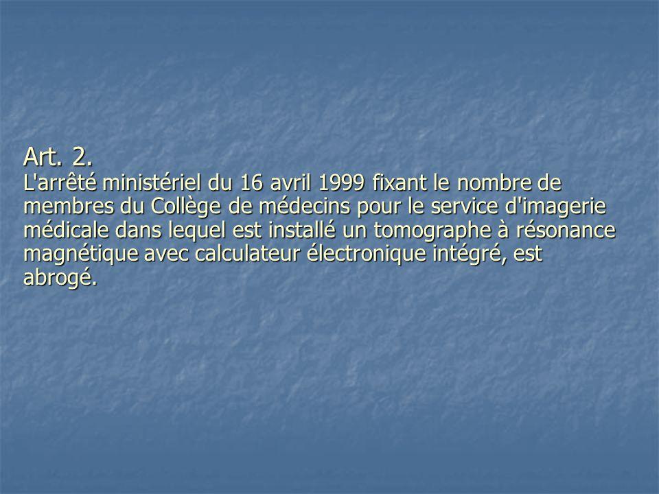 Art. 2. L'arrêté ministériel du 16 avril 1999 fixant le nombre de membres du Collège de médecins pour le service d'imagerie médicale dans lequel est i