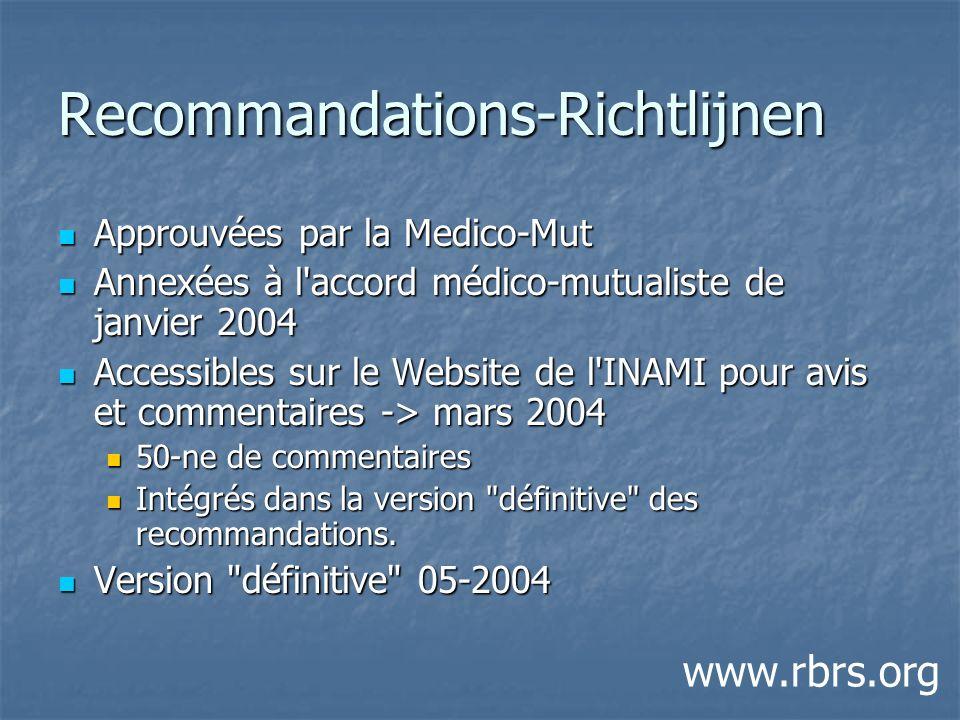 Recommandations-Richtlijnen Approuvées par la Medico-Mut Approuvées par la Medico-Mut Annexées à l'accord médico-mutualiste de janvier 2004 Annexées à