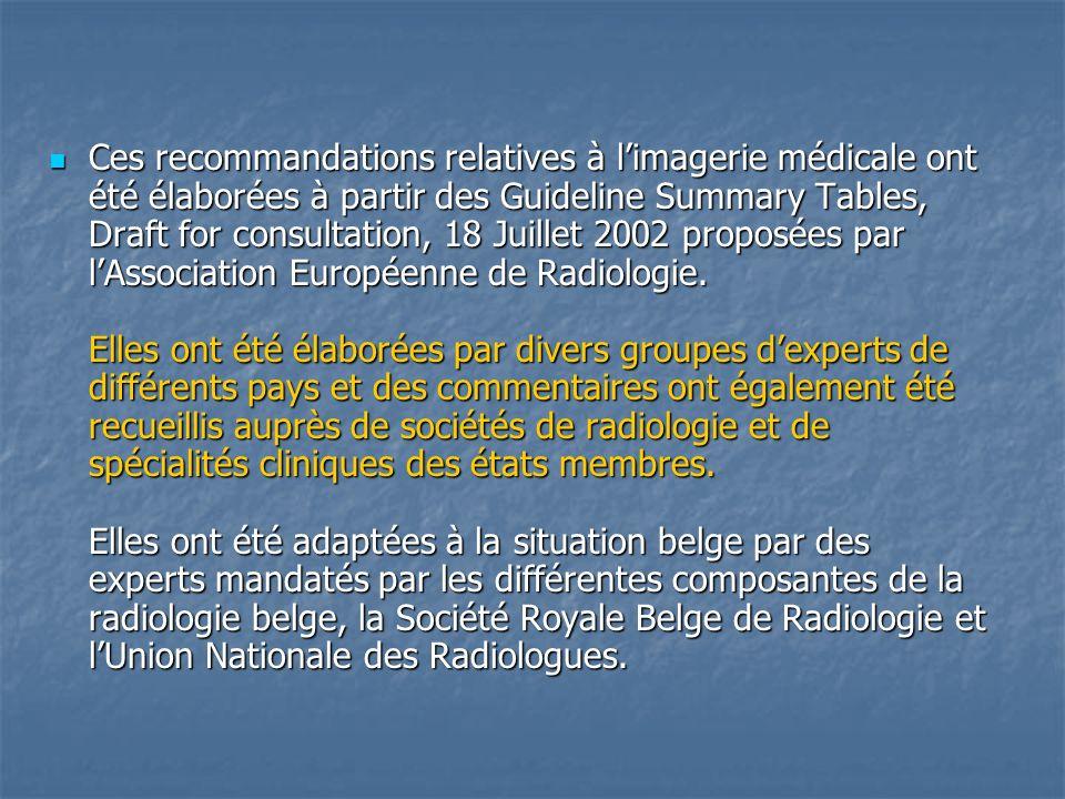 Ces recommandations relatives à limagerie médicale ont été élaborées à partir des Guideline Summary Tables, Draft for consultation, 18 Juillet 2002 pr
