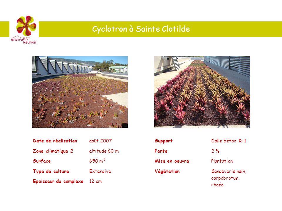 Cyclotron à Sainte Clotilde Date de réalisationaoût 2007 Zone climatique 2altitude 60 m Surface650 m² Type de cultureExtensive Epaisseur du complexe12