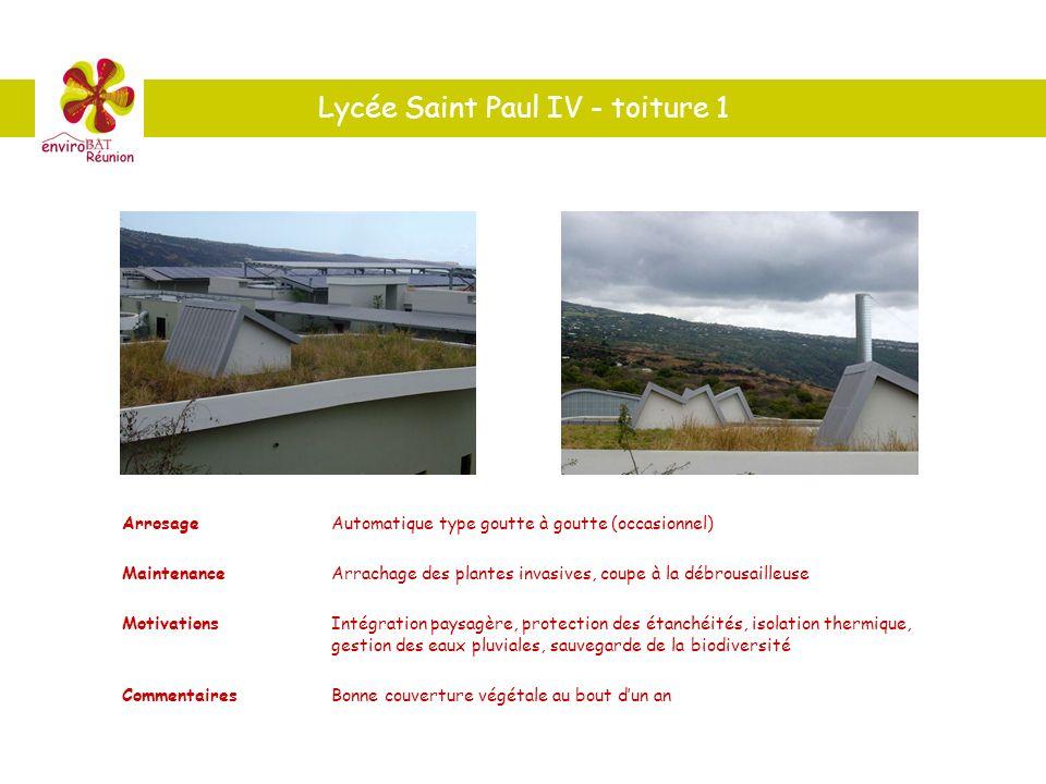 Lycée Saint Paul IV - toiture 1 ArrosageAutomatique type goutte à goutte (occasionnel) MaintenanceArrachage des plantes invasives, coupe à la débrousa