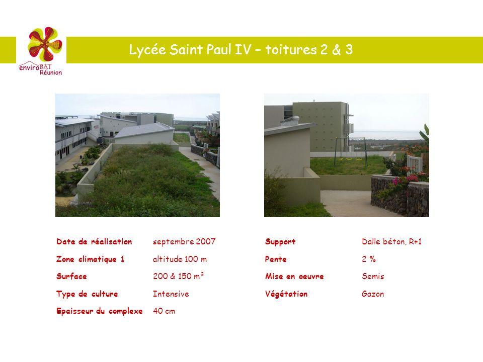 Lycée Saint Paul IV – toitures 2 & 3 Date de réalisationseptembre 2007 Zone climatique 1altitude 100 m Surface200 & 150 m² Type de cultureIntensive Ep