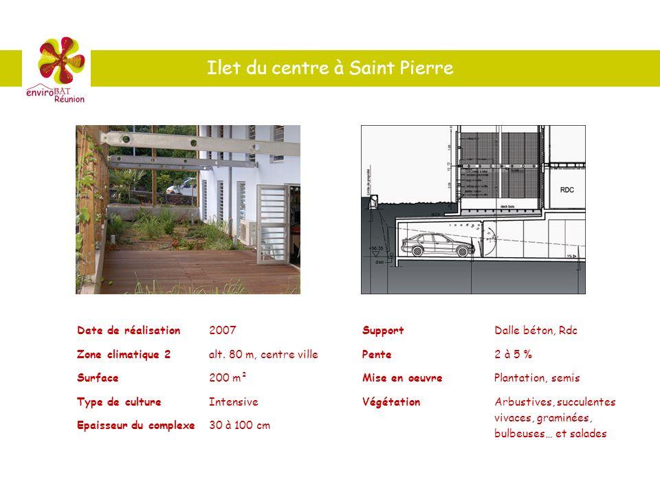 Ilet du centre à Saint Pierre Date de réalisation2007 Zone climatique 2alt. 80 m, centre ville Surface200 m² Type de cultureIntensive Epaisseur du com