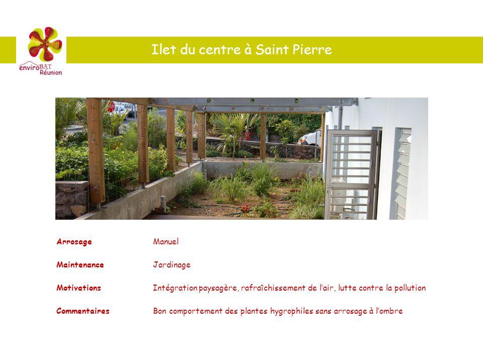 Ilet du centre à Saint Pierre ArrosageManuel MaintenanceJardinage MotivationsIntégration paysagère, rafraîchissement de lair, lutte contre la pollutio