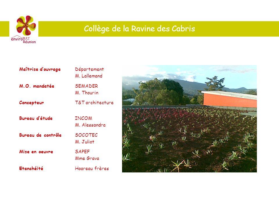 Collège de la Ravine des Cabris Maîtrise douvrageDépartement M. Lallemand M.O. mandatéeSEMADER M. Thourin ConcepteurT&T architecture Bureau détudeINCO