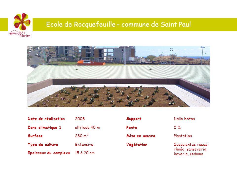 Ecole de Rocquefeuille - commune de Saint Paul Date de réalisation2008 Zone climatique 1altitude 40 m Surface280 m² Type de cultureExtensive Epaisseur