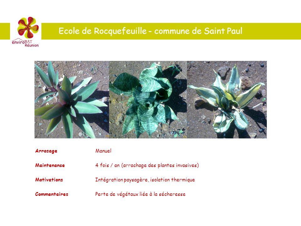 Ecole de Rocquefeuille - commune de Saint Paul ArrosageManuel Maintenance4 fois / an (arrachage des plantes invasives) MotivationsIntégration paysagèr